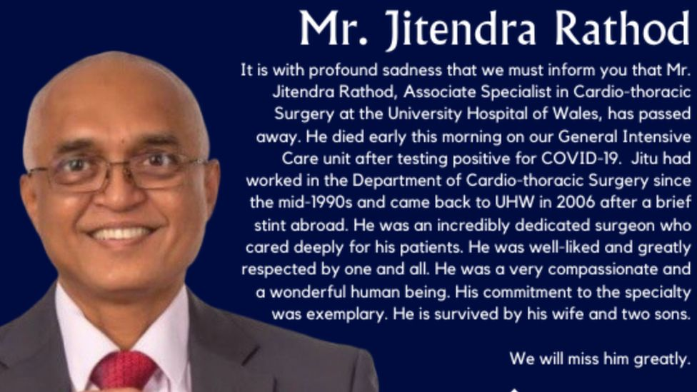 The tribute was posted on Cardiff and Vale University health board's website