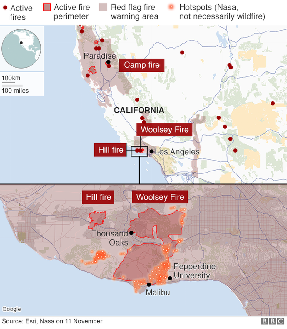 Maps showing where wildfires are active across California