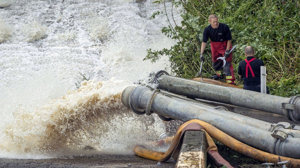 Water pumped out of the reservoir being put into River Goyt