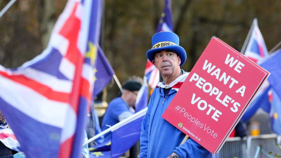 """Pro-remain campaigner holding a """"we want a people's vote"""" placard"""