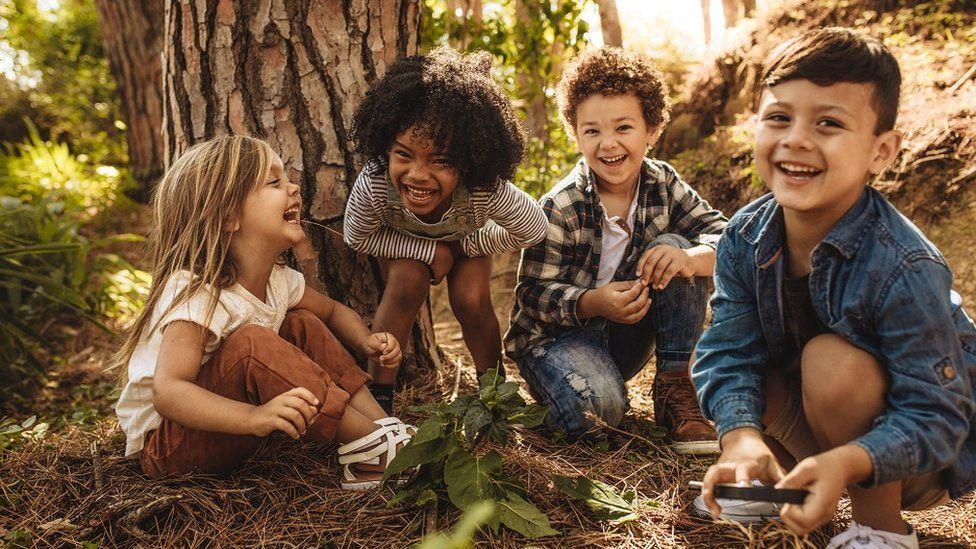 Niños en un bosque