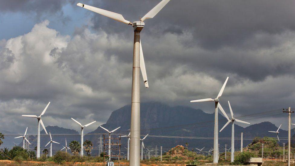 Wind turbines generate electricity in Punniyavalanpuram, Tamil Nadu