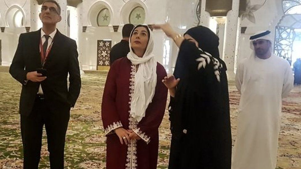 Israeli Sports and Culture minister Miri Regev visits a mosque Sheikh Zayed Mosque in Abu Dhabi (28/10/18)