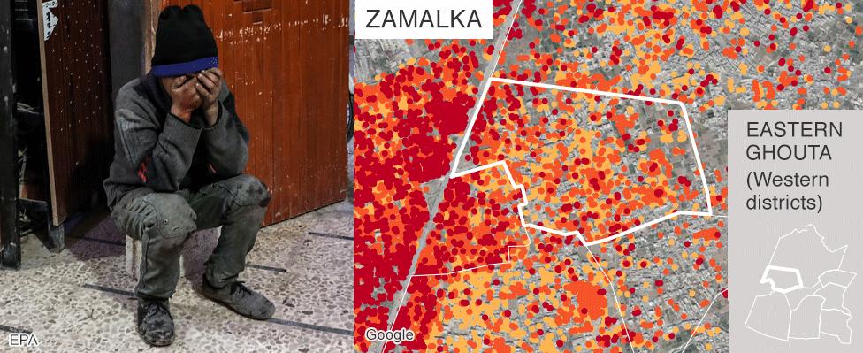 Map showing damage in Zamalka, Eastern Ghouta