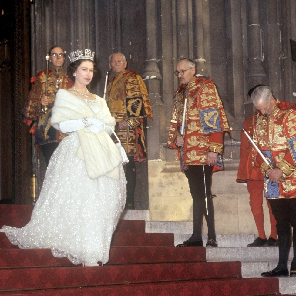 Queen Elizabeth II leaving after the State Opening of Parliament
