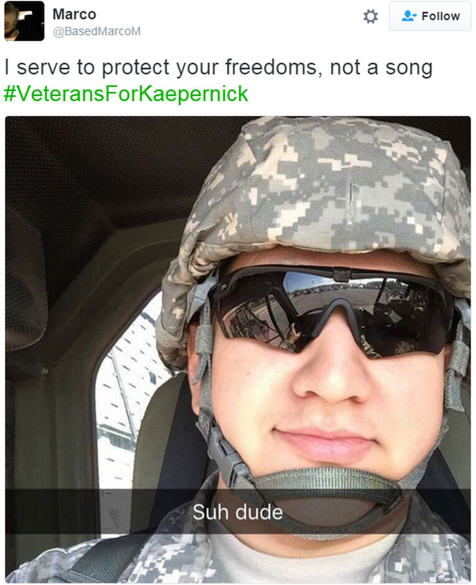 """A tweet reads: """"I serve to protect your freedoms, not a song #VeteransForKaepernick"""""""