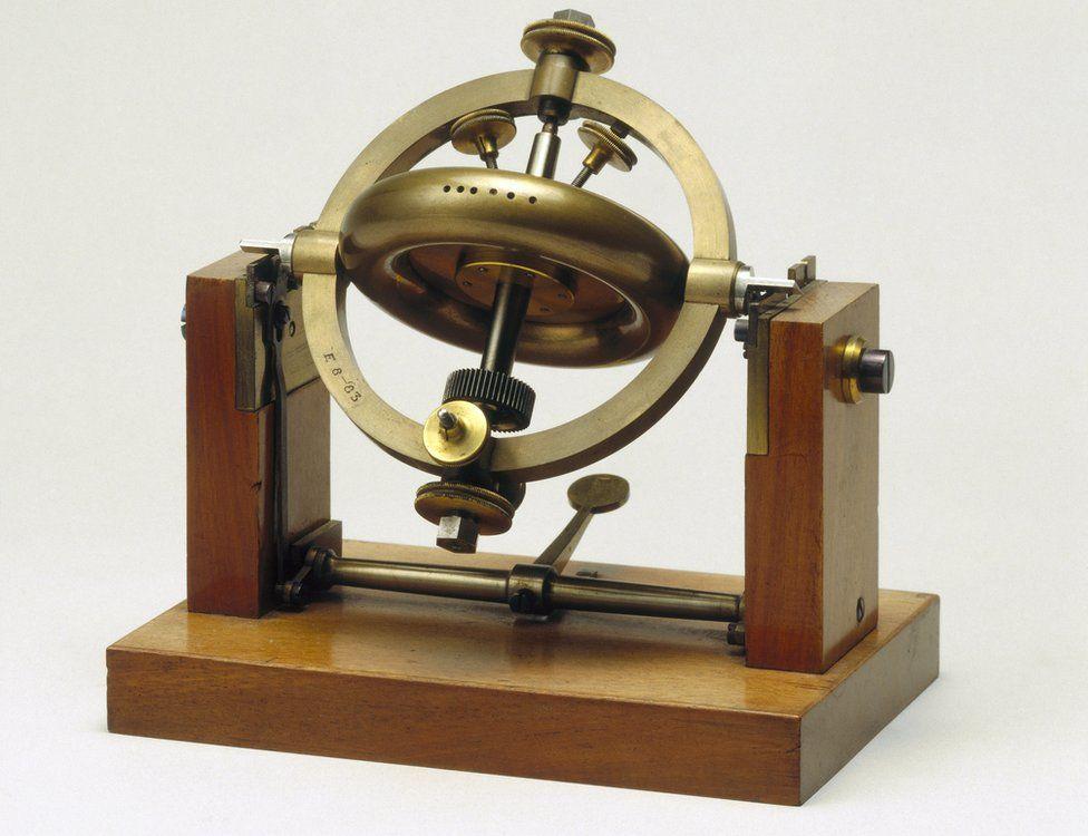 Part of Foucault's gyroscope demonstration apparatus, 1883.