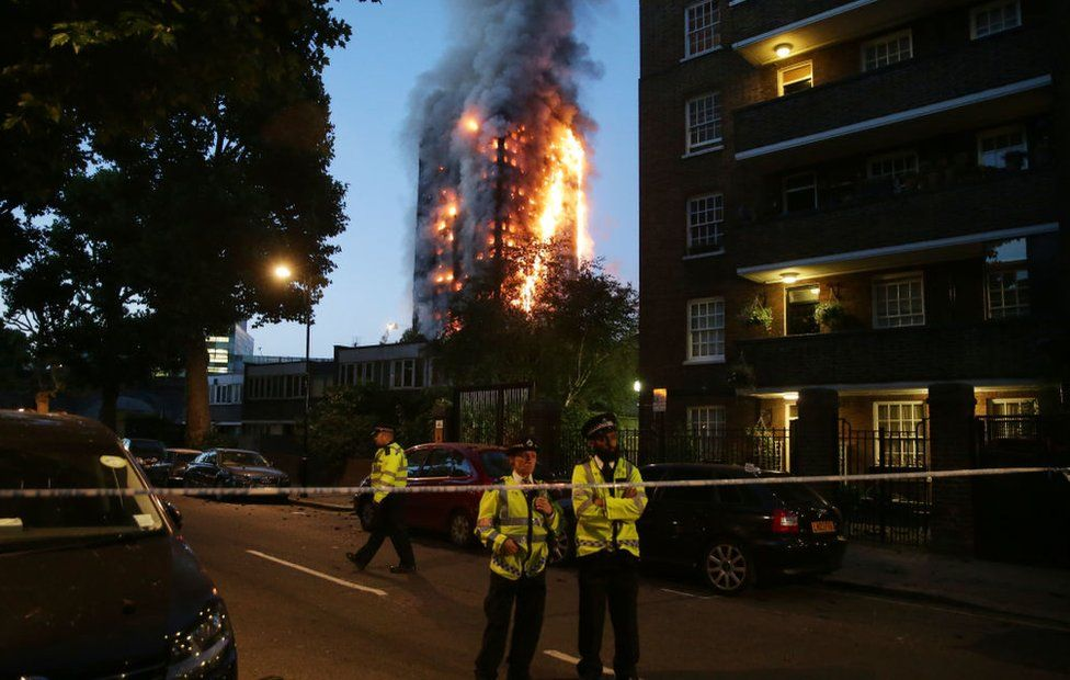 The blaze at Grenfell Tower