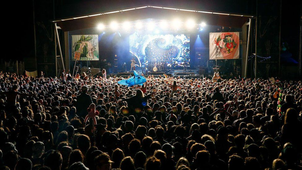 A crowd watches a band play at Falls Festival in Victoria, Australia, last year