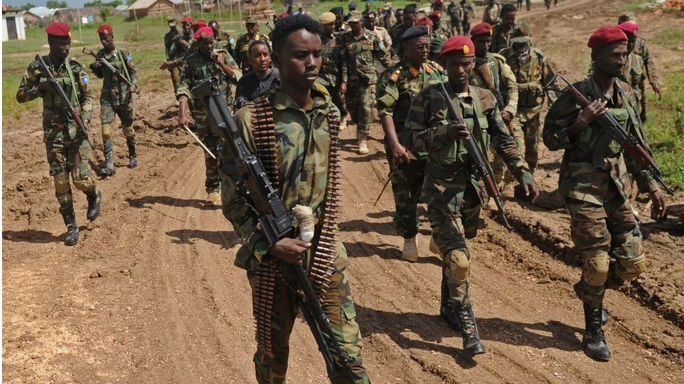 Somali soldiers march at a military base 450 km south of the capital Mogadishu