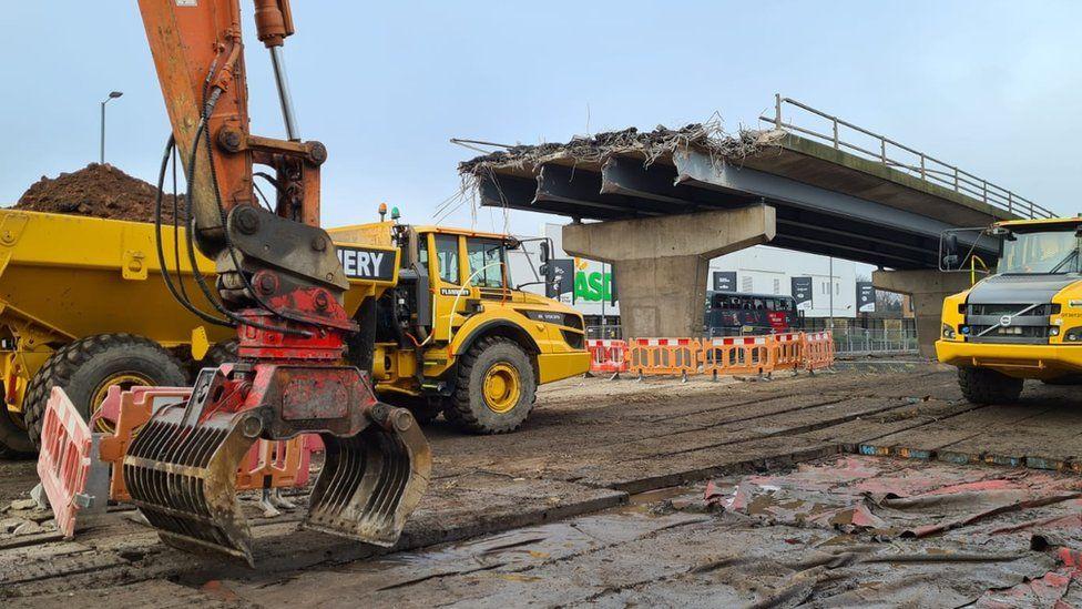 Demolition work in progress