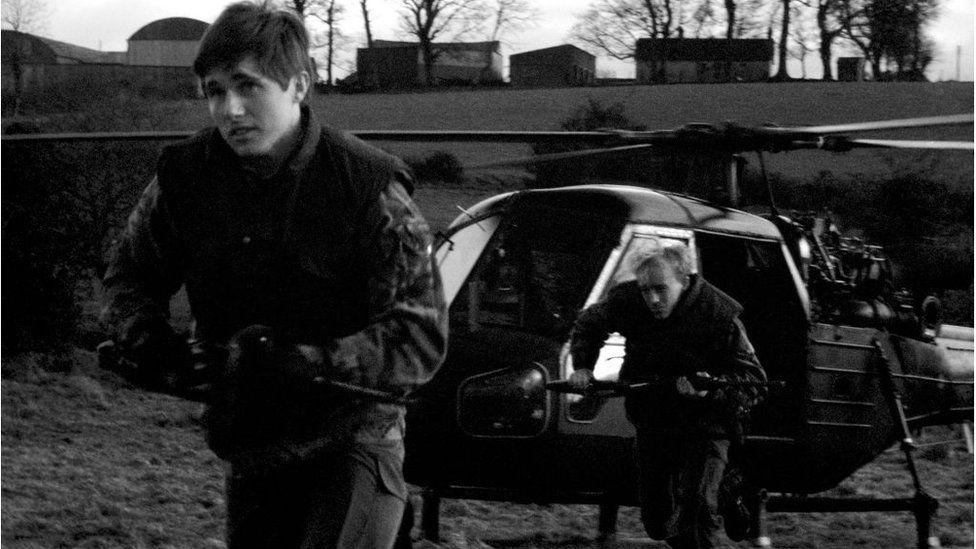 British soldiers on patrol on the Irish border in 1977