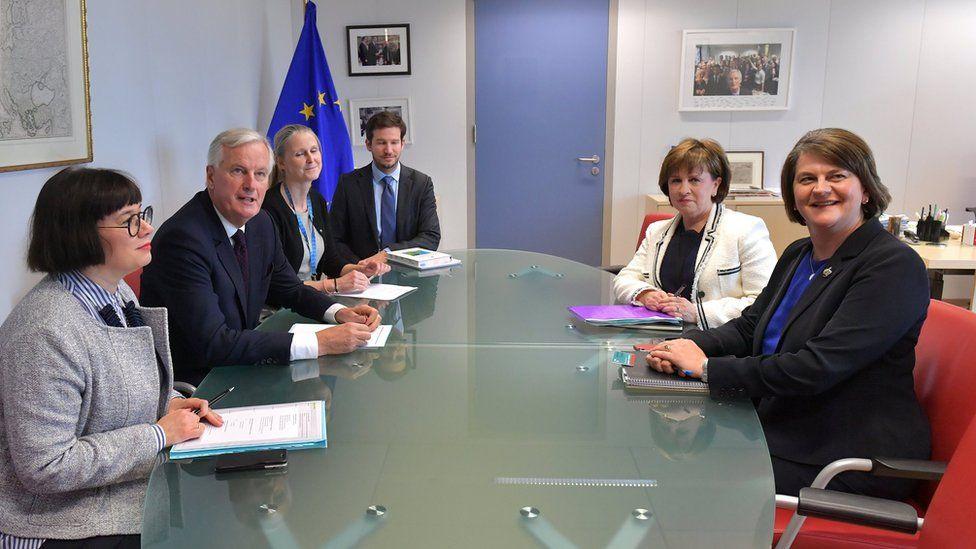 DUP leader Arlene Foster met EU negotiator Michel Barnier on Tuesday