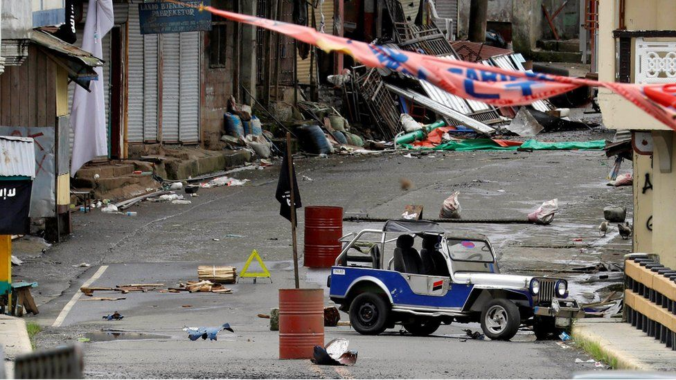 A view of the Maute group stronghold with an ISIS flag in Marawi City in southern Philippines 29 May 2017.