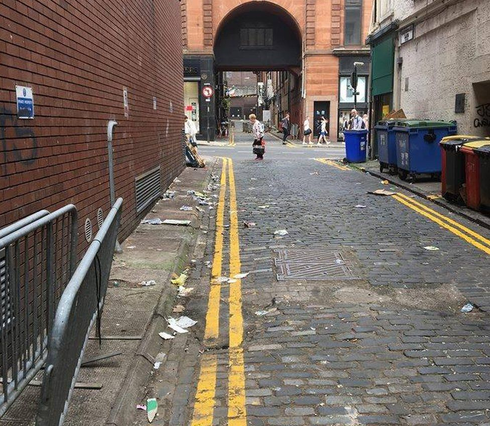 Litter-covered Glasgow streets