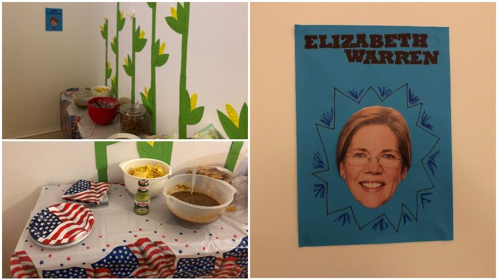 Colyn Burbank's flat decorated to host the caucus
