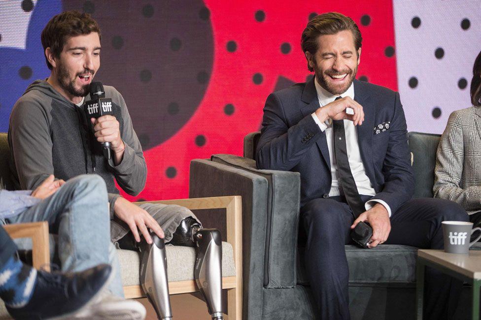 Jake Gyllenhaal with Jeff Bauman at the Toronto Film Festival