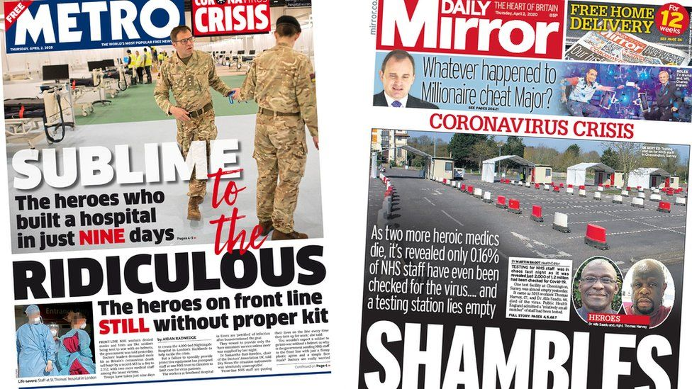 Metro and Daily Mirror front pages