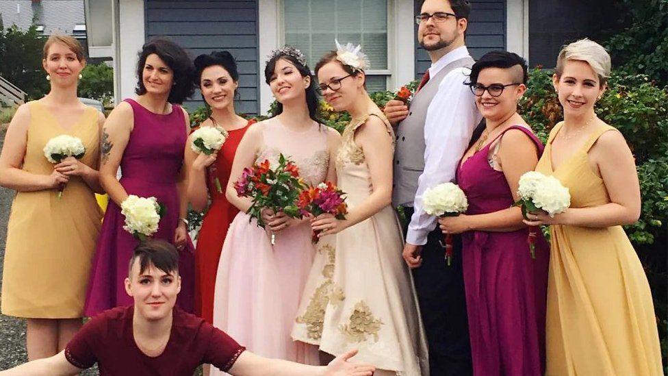 A wedding photo with bridesmaids