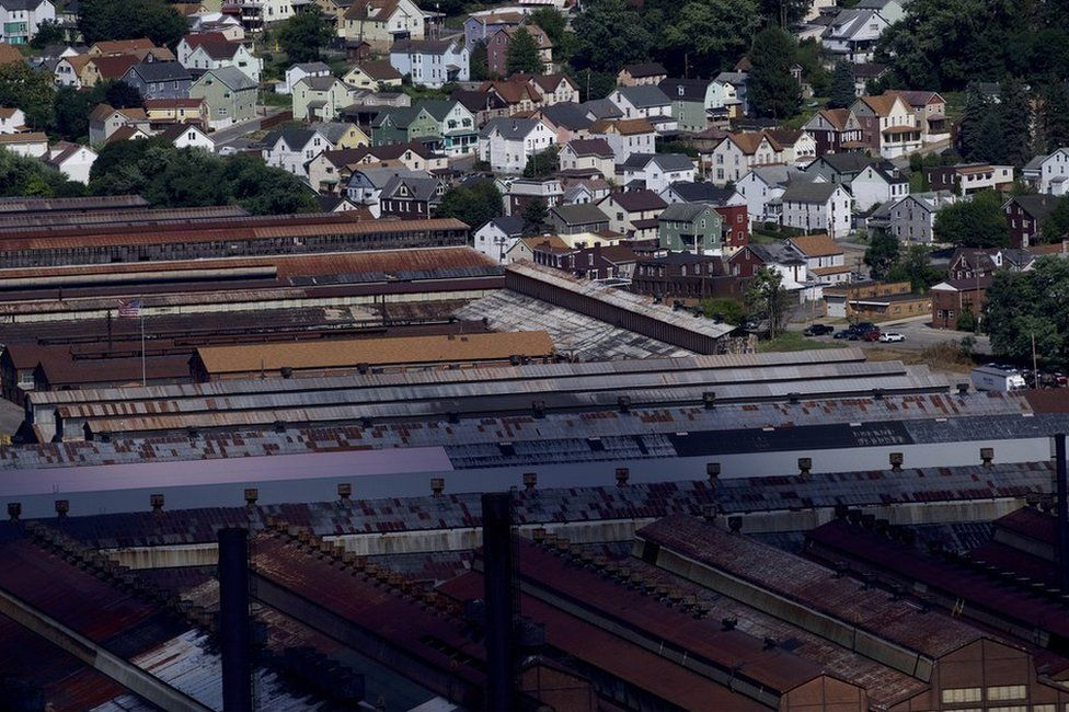 The shuttered Cambria Iron Company steelworks in Johnstown, Pennsylvania, which closed in 1992,