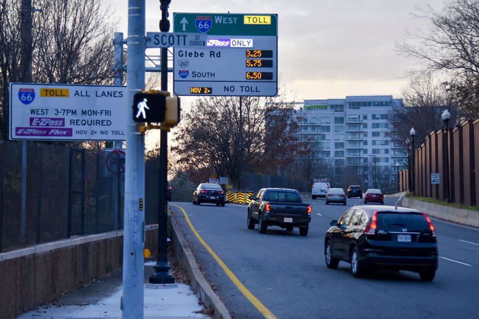 A sign showing variable pricing for drivers who want to use part of Interstate 66 in Arlington, Virginia, during rush hour
