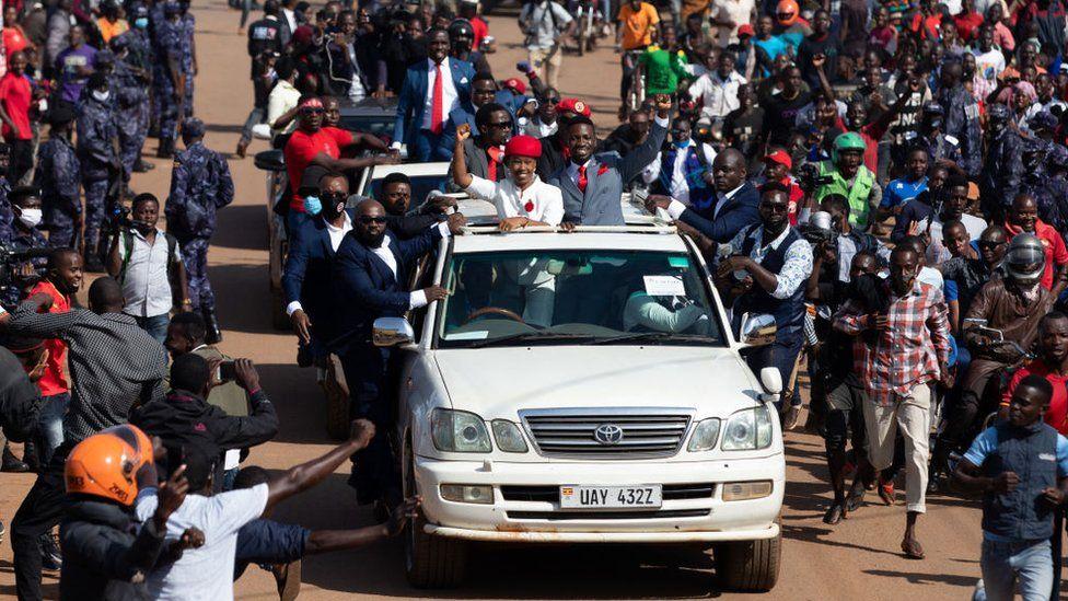 Bobi Wine parades though the streets amid crowds of supporters in Kampala, Uganda, 3 November 2020
