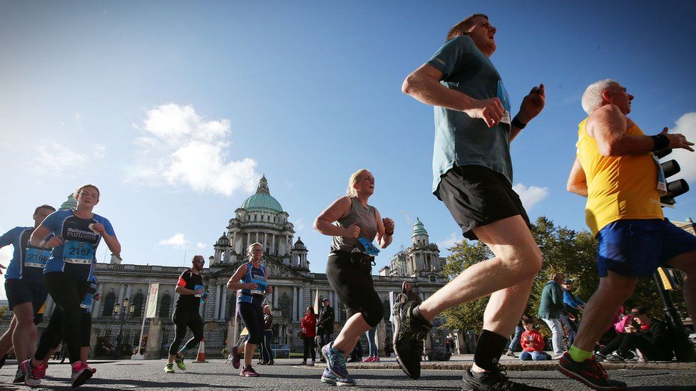 About 3,500 runners are taking part in the half marathon in Belfast