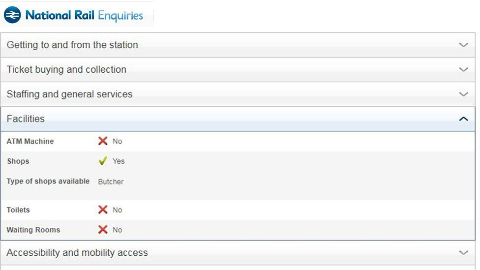 National Rail information showing there is a butcher at the station