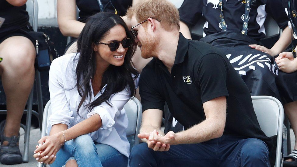 Meghan Markle and Prince Harry seen during their first public appearance at the Invictus Games