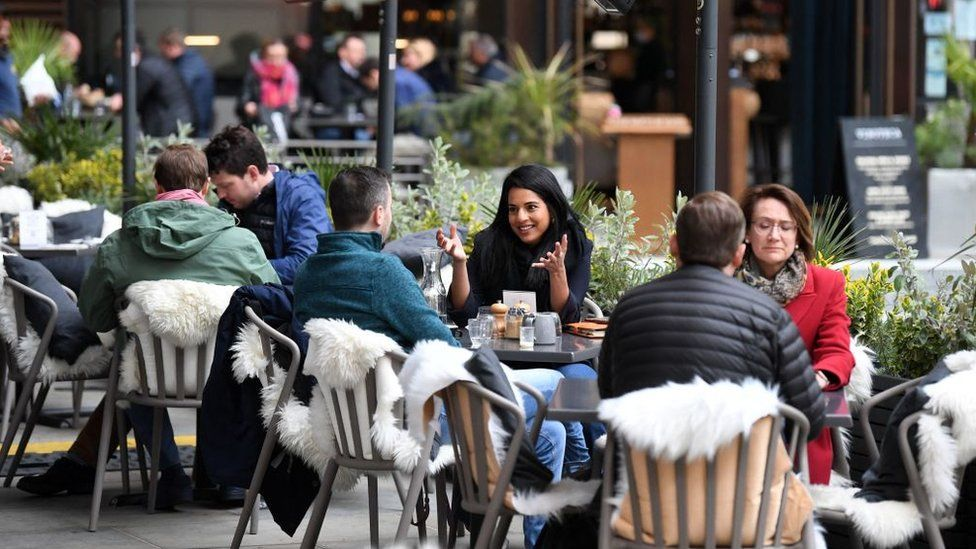 People sitting outdoor at cafes in London