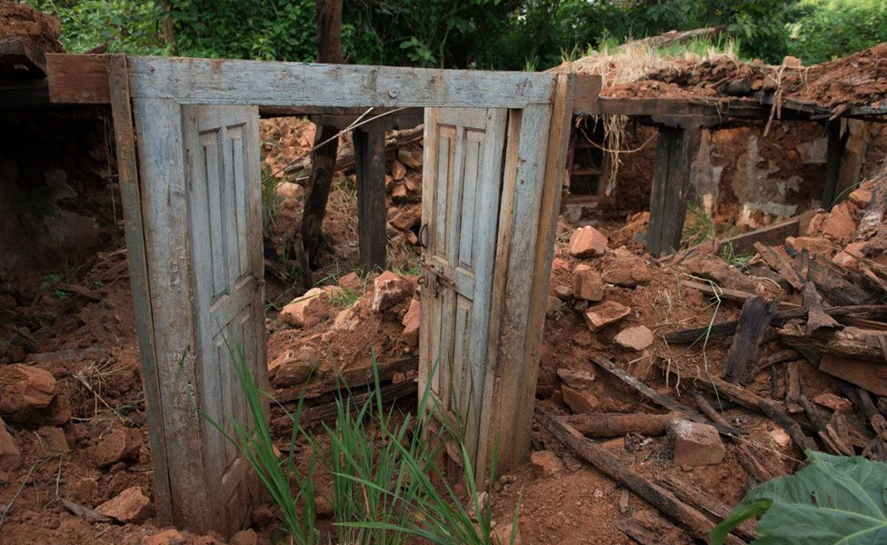 A doorway - all that's left of a house - near Sabin's home