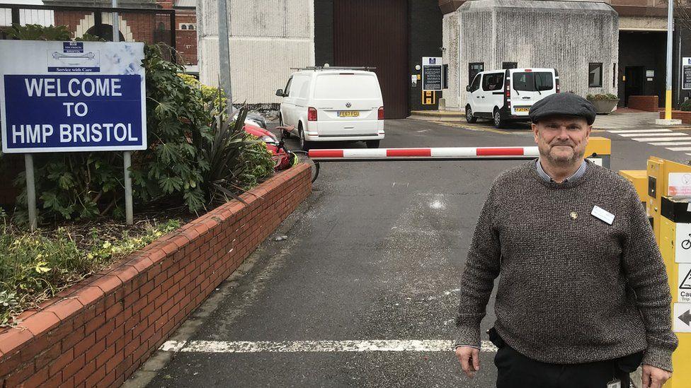 Larry Harvey outside HMP Bristol where he is now prison chaplain