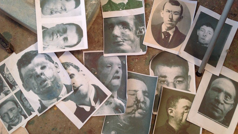 Images of men from WW1 whose faces have been damaged