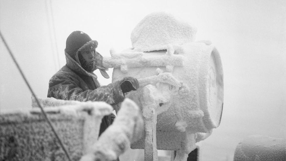 Ice forming on a signal projector on the cruiser HMS Sheffield in December 1941