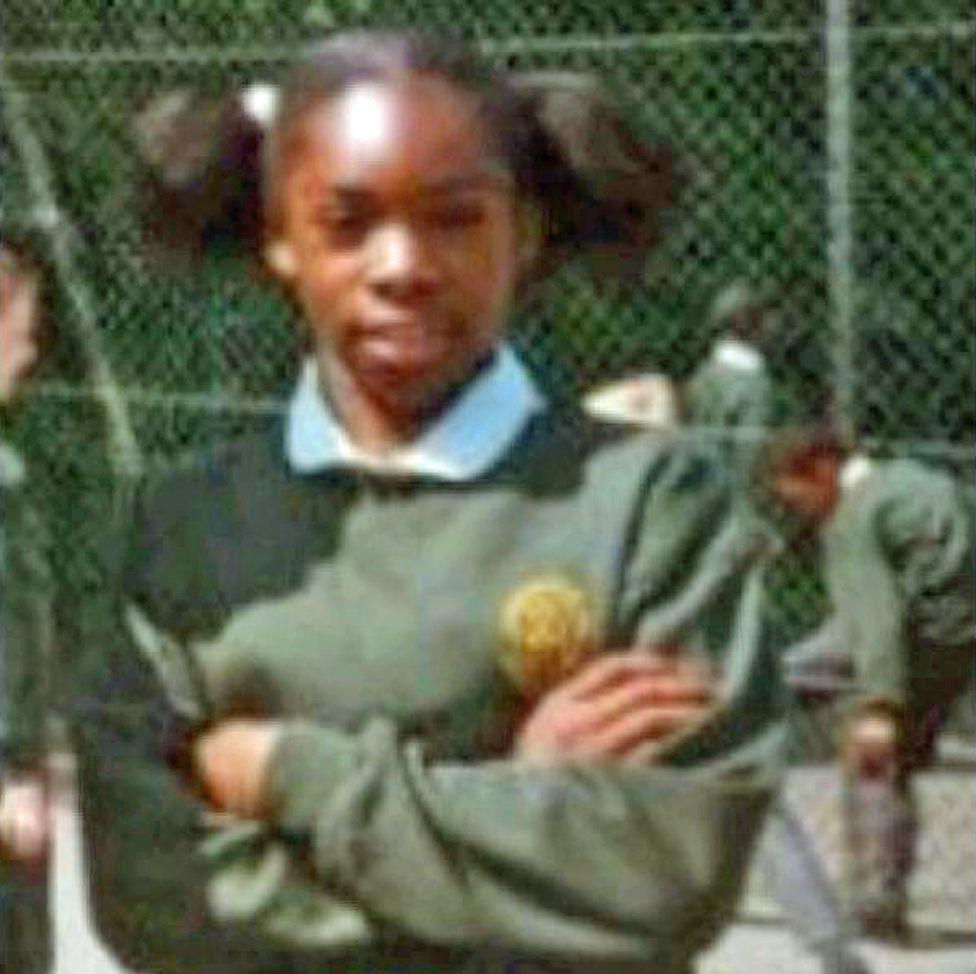 Nequela Whittaker at school, aged 10