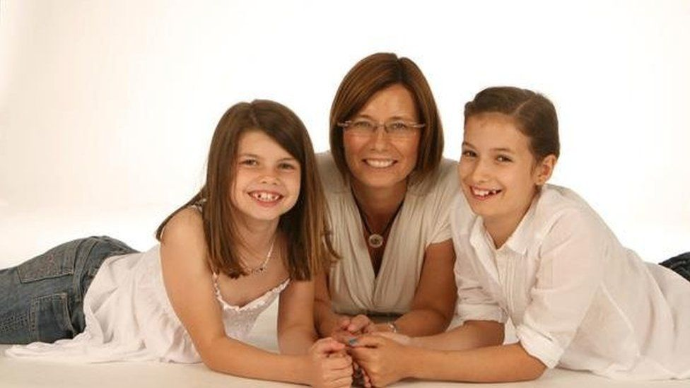 Claire Adam and her daughters Lucy (left) and Hannah