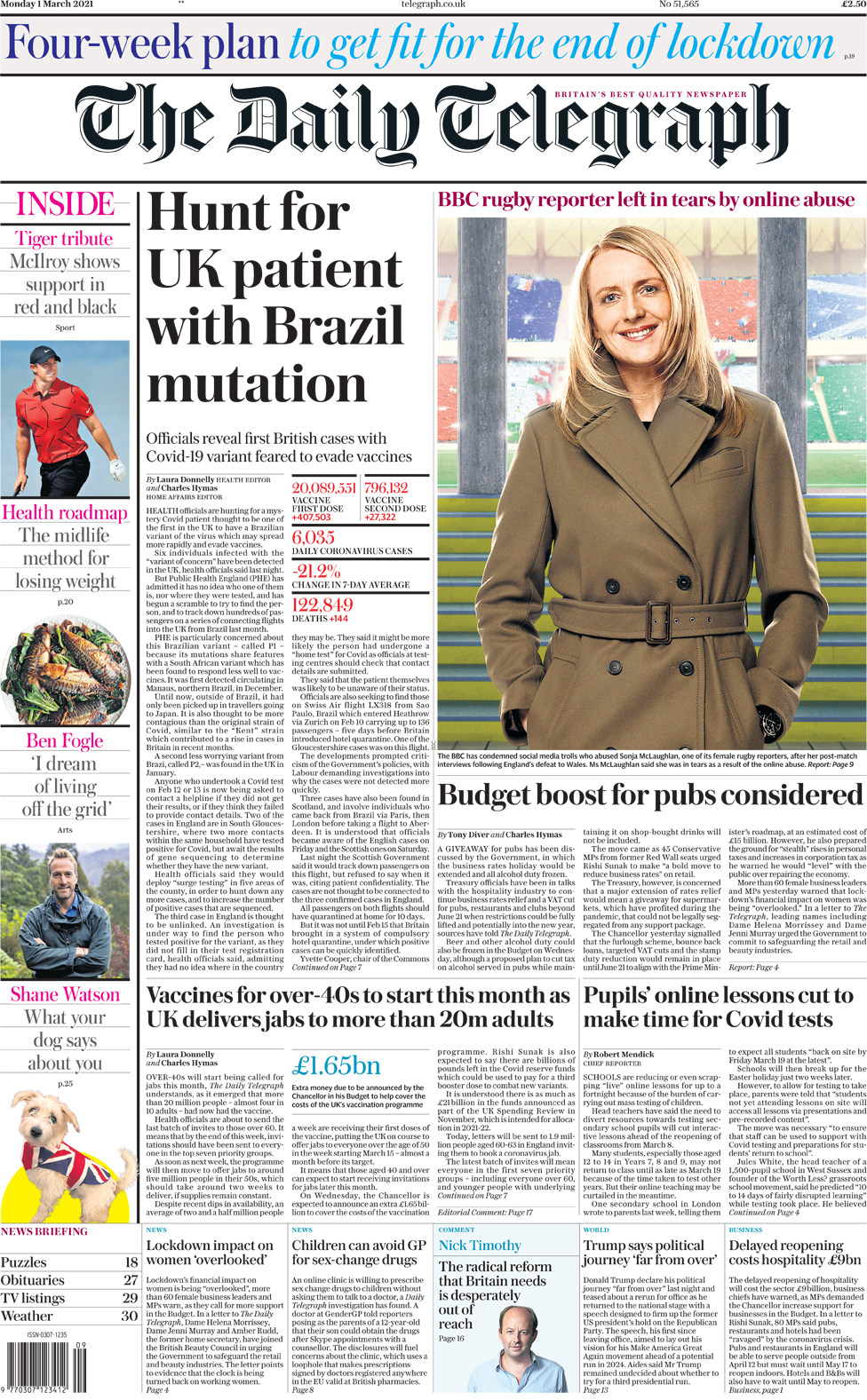 The Daily Telegraph front page 1 March 2021
