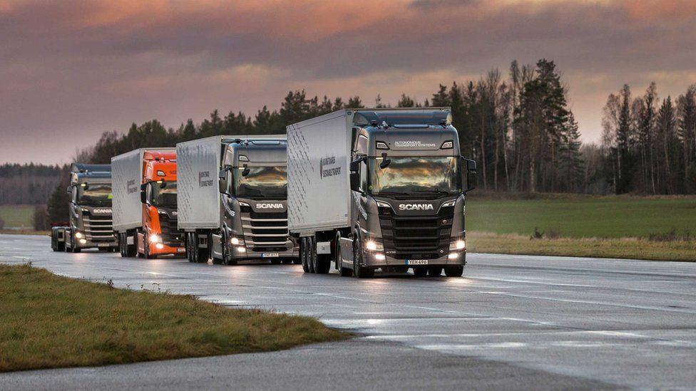 Scania's platooning autonomous trucks in Stockholm