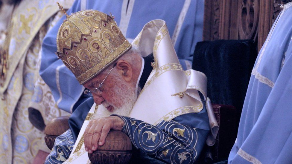 Catholicos-Patriarch Ilia II is the most revered public figure in Georgia in charge of the Church since 1977