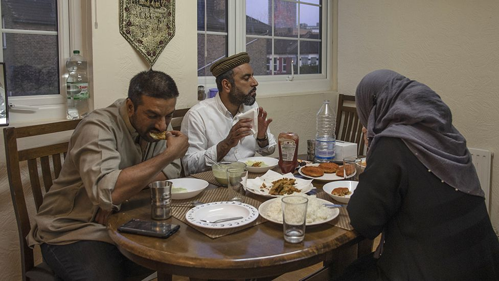 A family in London having an iftar supper during lockdown, 2020