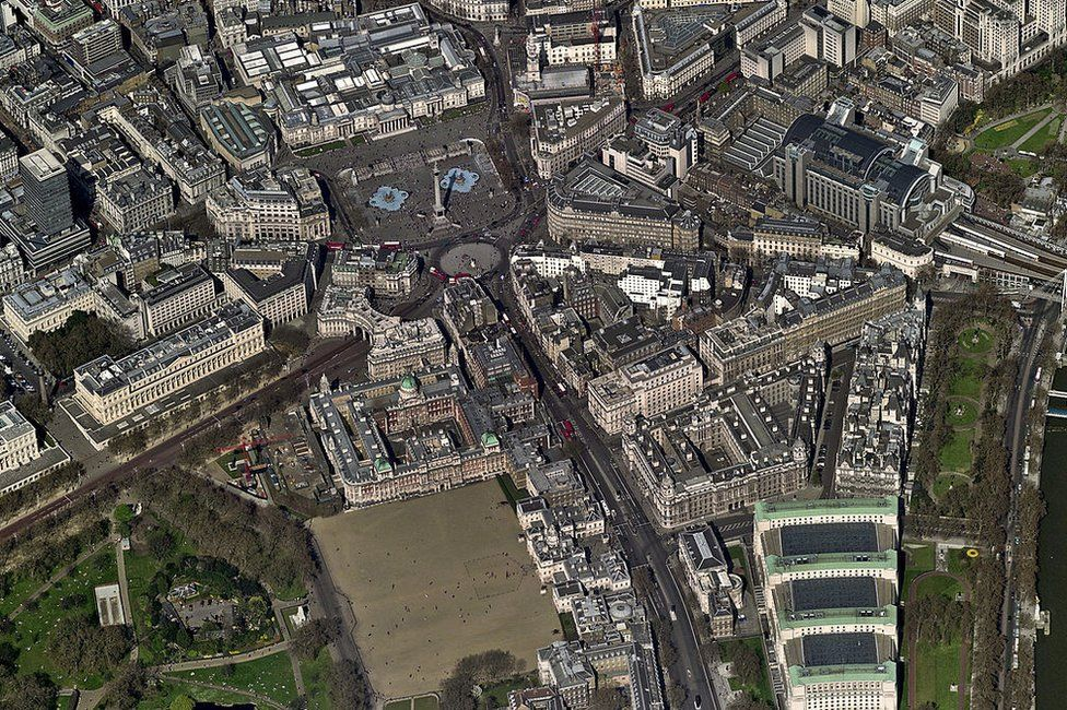 An aerial view of Whitehall