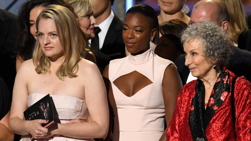 Elisabeth Moss, Samira Wiley and author Margaret Atwood
