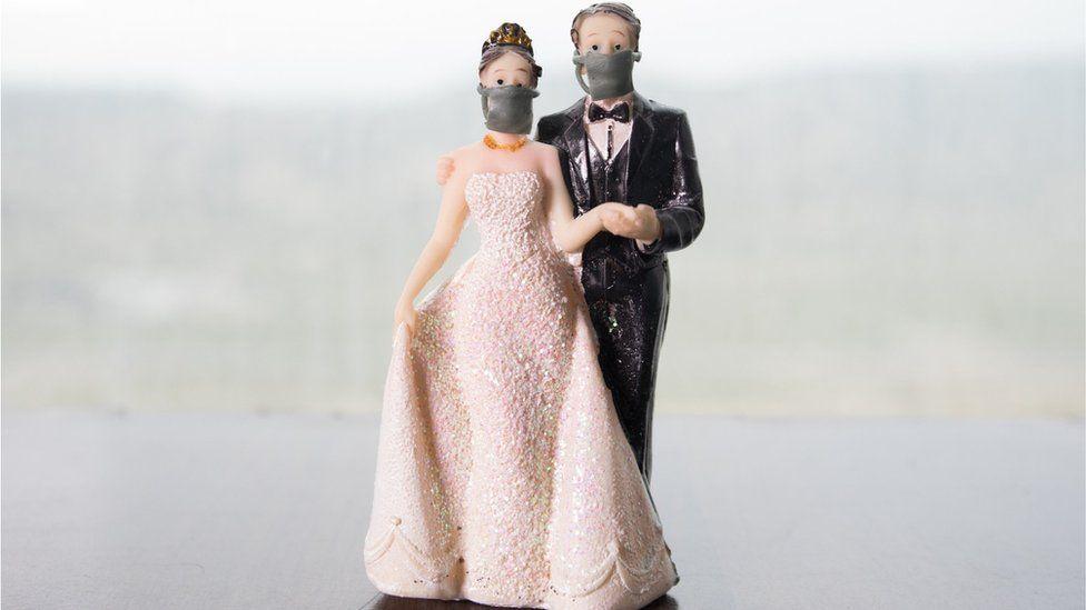 Plastic wedding couple wearing face masks
