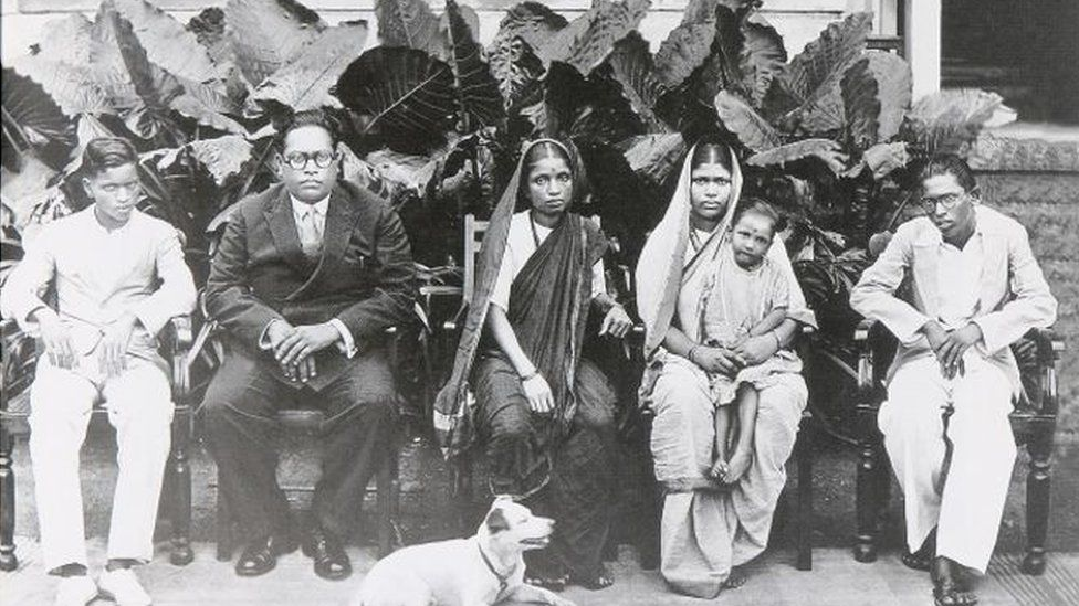 Dr Ambedkar, second from the left, with his family in Mumbai