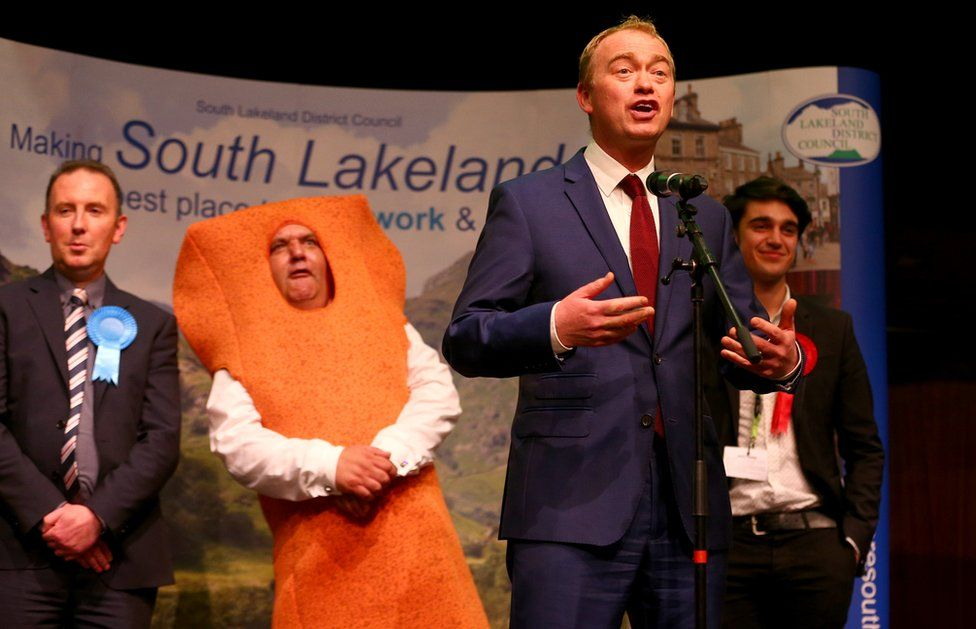 Leader of the Liberal democrats Tim Farron celebrates his win