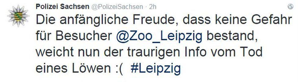 Saxony police tweet