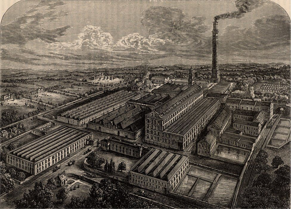 An engraving of the Camperdown jute mill from 1880