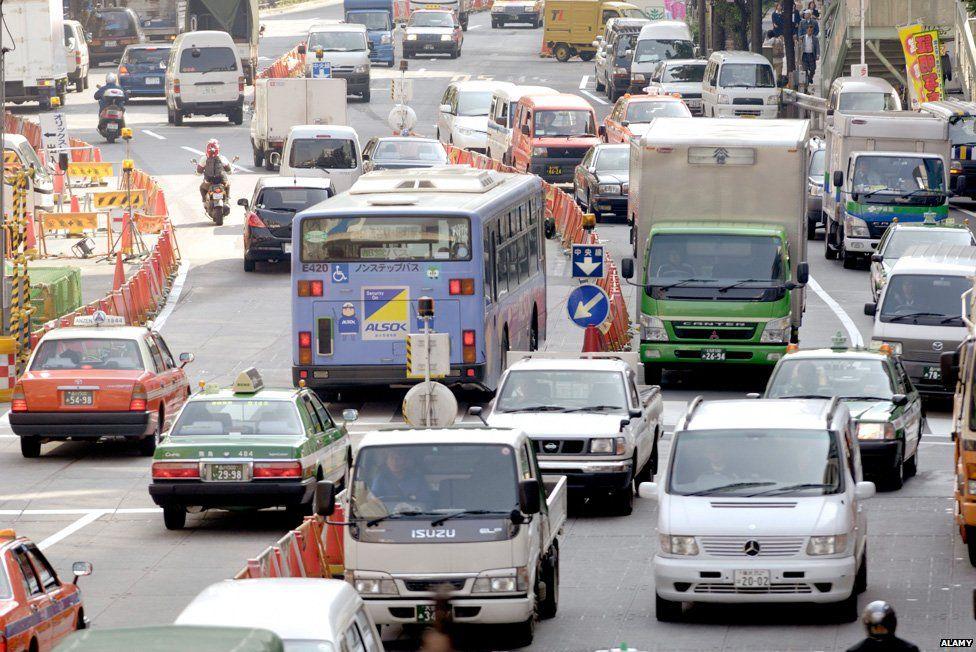 Rush-hour traffic in Tokyo
