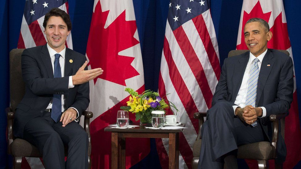 US President Barack Obama and Canadian Prime Minister Justin Trudeau (L) hold a bilateral meeting on the sidelines of the Asia-Pacific Economic Cooperation (APEC) Summit in Manila on November 19, 2015.