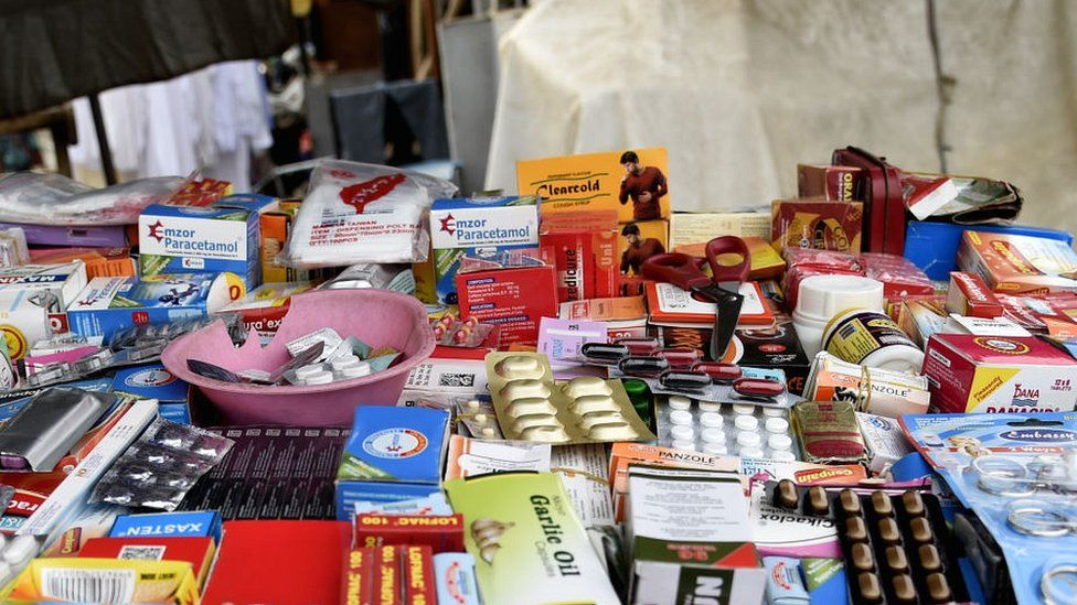 Drugs are displayed for sale along the road in Lagos, on January 11, 2020.